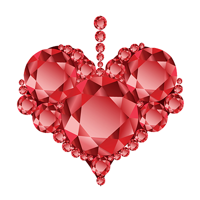 Red Diamond Heart Clipart Image