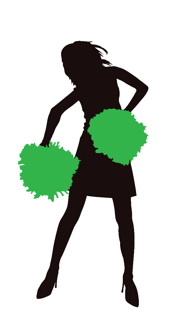 Cheerleader Green Clipart Image