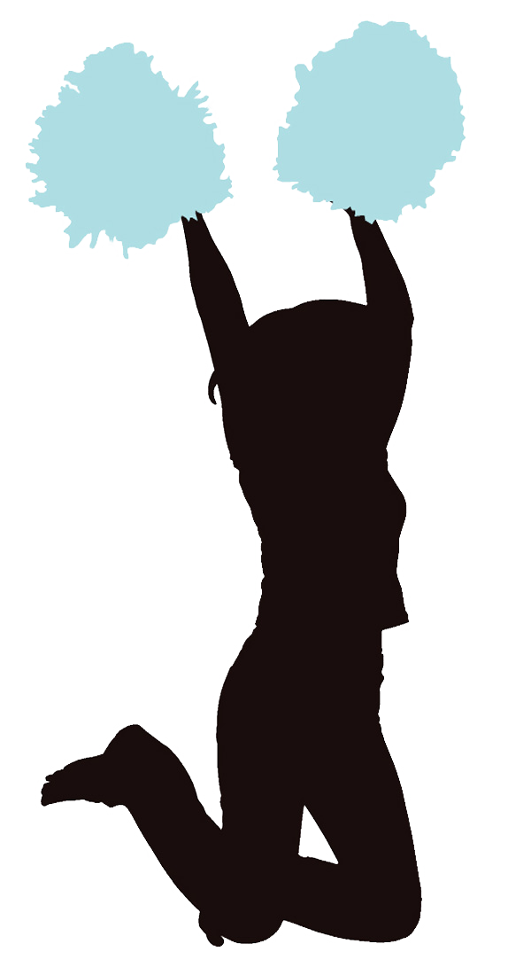 Cheerleader Light Blue Clipart Image