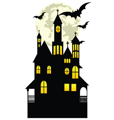 Halloween Haunted House Moon Clipart Image