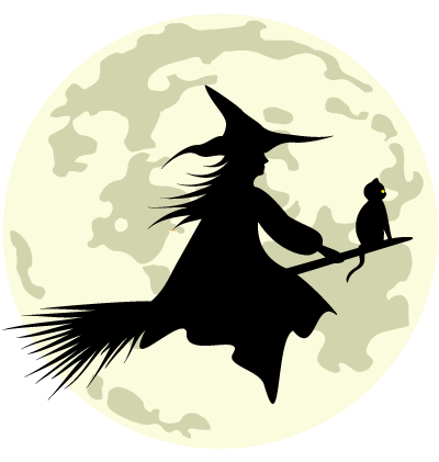 Halloween Moon Witch Clipart Image