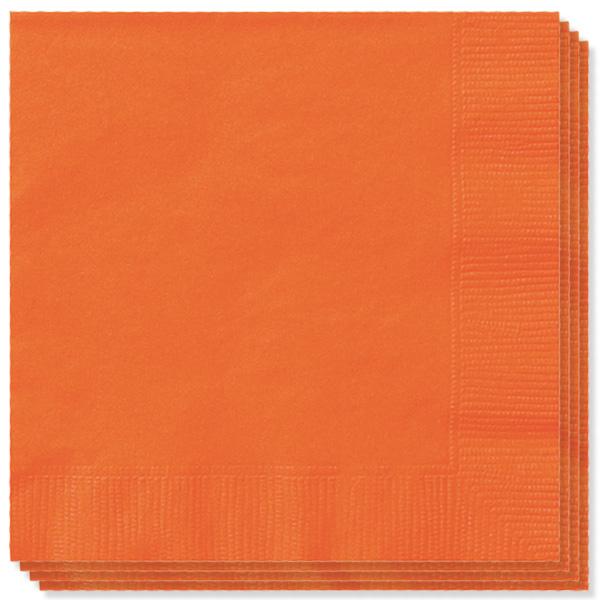 100 Servilletas Naranja 33cm 2 capas