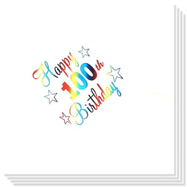 100 Cumpleaños Multicolores Impresión de la Foil Servilletas 33cm 3capas - Paquete de 15