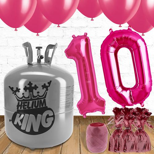 10o Cumpleaños Globos de Rosa y el Paquete de Gas Helio