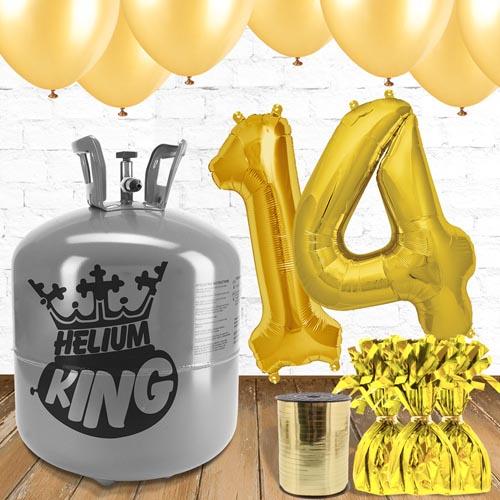 Paquete De Globos Dorados Con Helio 14to Cumpleaños