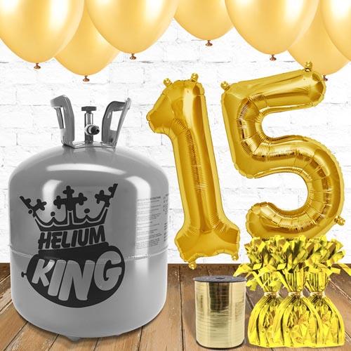 Paquete De Globos Dorados Con Helio 15to Cumpleaños