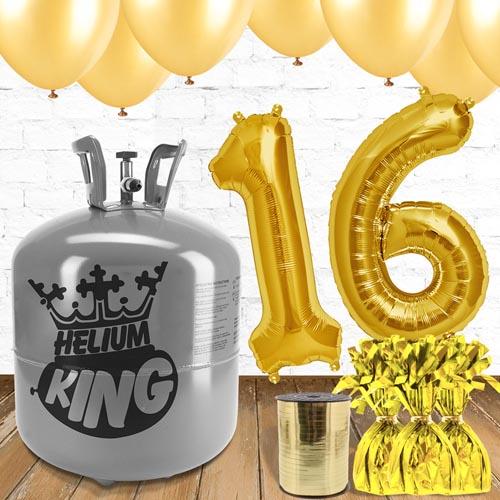 Paquete De Globos Dorados Con Helio 16to Cumpleaños