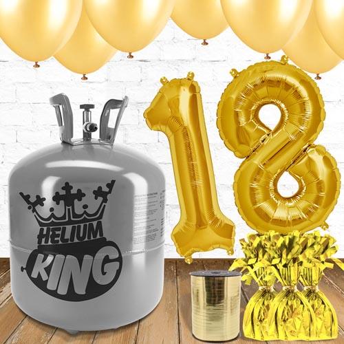 Paquete De Globos Dorados Con Helio 18vo Cumpleaños