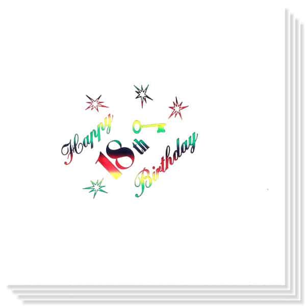 18o Cumpleaños Multicolores Impresión de la Foil Servilletas 33cm 3capas - Paquete de 15