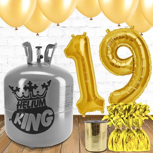 Paquete De Globos Dorados Con Helio 19no Cumpleaños