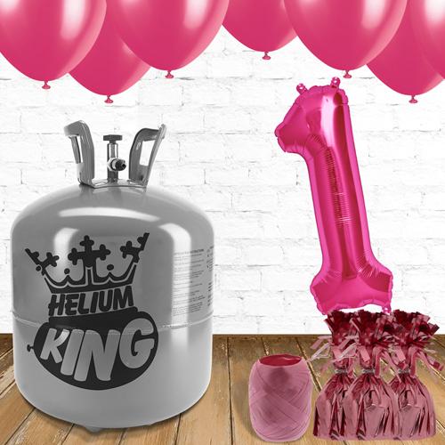 1er Cumpleaños Globos Rosados y el Paquete de Gas Helio