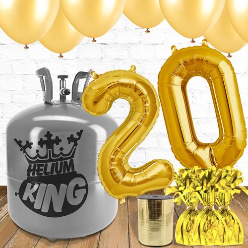 Paquete De Globos Dorados Con Helio 20mo Cumpleaños