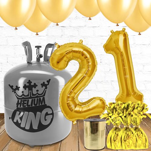 Paquete De Globos Dorados Con Helio 21er Cumpleaños