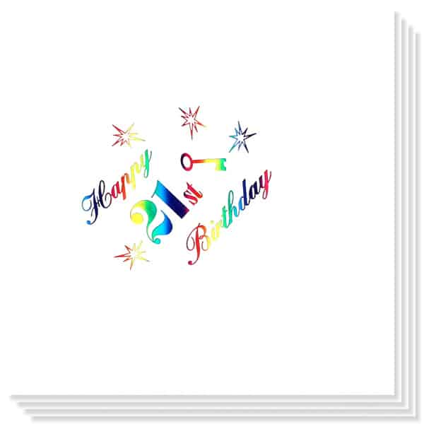 21o Cumpleaños Multicolores Impresión de la Foil Servilletas 33cm 3capas - Paquete de 15