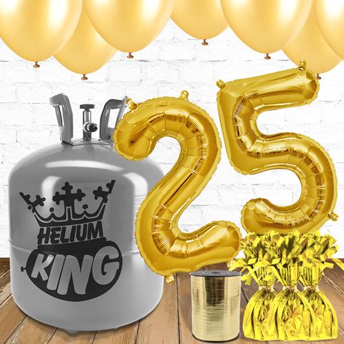Paquete De Globos Dorados Con Helio 25to Cumpleaños