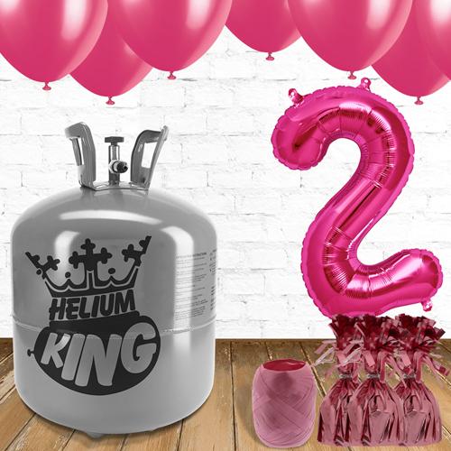 2 º Cumpleaños Globos Rosa y un Paquete de Gas Helio