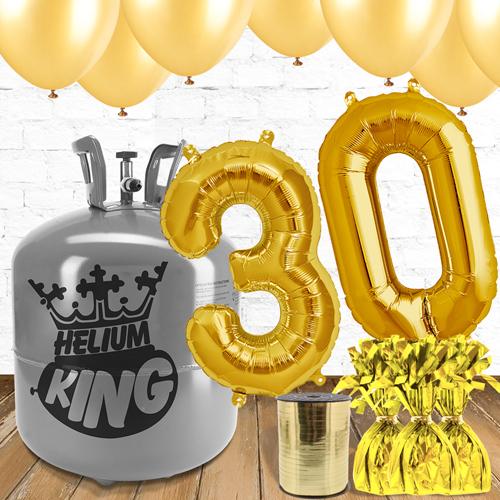 Paquete De Globos Dorados Con Helio 30mo Cumpleaños
