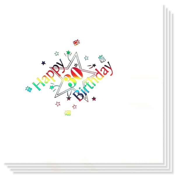 30 Cumpleaños Multicolores Impresión de la Foil Servilletas 33cm 3capas - Paquete de 15