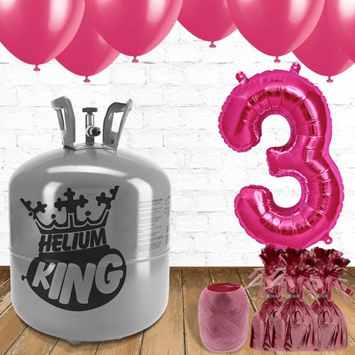 3er Cumpleaños Globos Rosados y el Paquete de Gas Helio