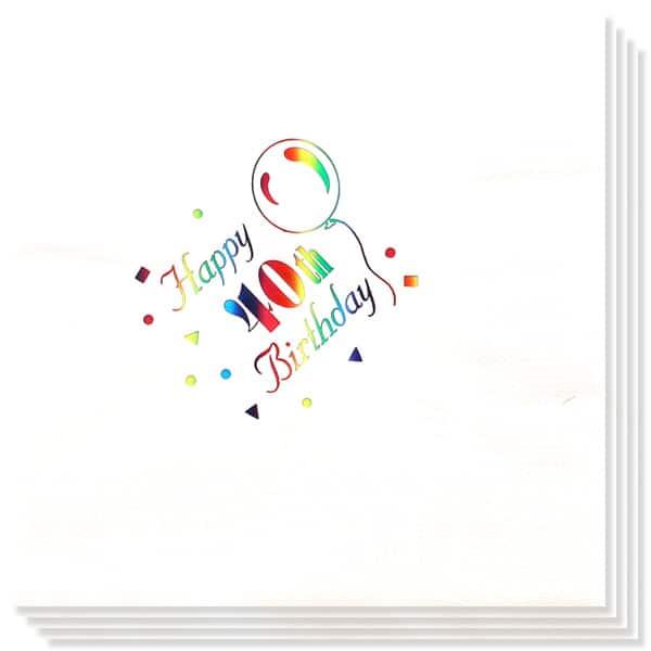 40 Cumpleaños Multicolores Impresión de la Foil Servilletas 33cm 3capas - Paquete de 15