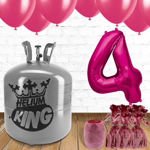 4to Cumpleaños Globos Rosados y el Paquete de Gas Helio