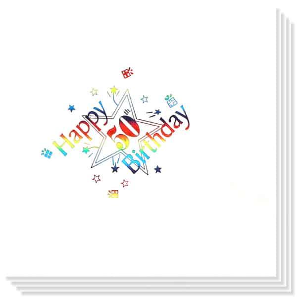 50 Cumpleaños Multicolores Impresión de la Foil Servilletas 33cm 3capas - Paquete de 15