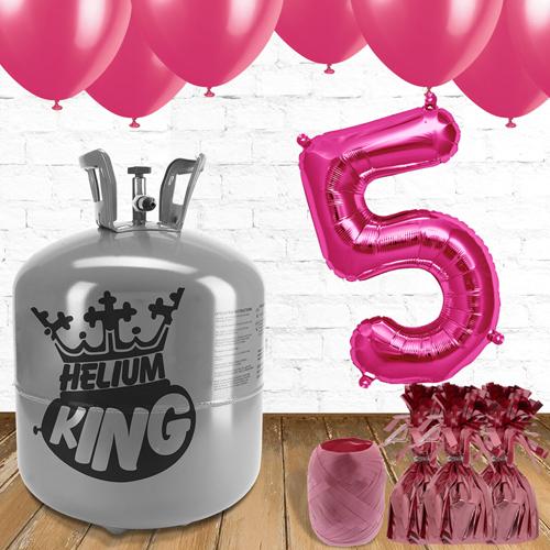 5to Cumpleaños Globos Rosados y el Paquete de Gas Helio