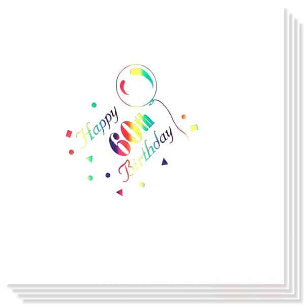 60 Cumpleaños Multicolores Impresión de la Foil Servilletas 33cm 3capas - Paquete de 15
