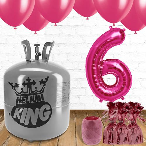 6to Cumpleaños Globos de Rosa y el Paquete de Gas Helio