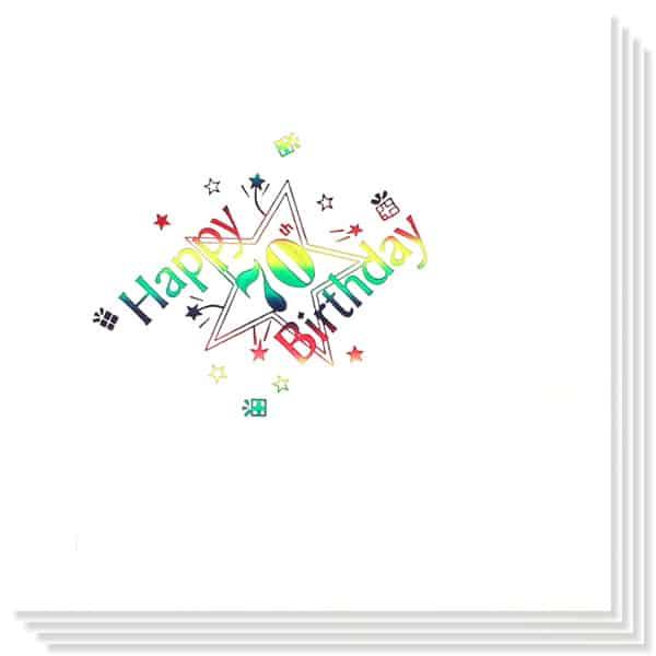70 Cumpleaños Multicolores Impresión de la Foil Servilletas 33cm 3capas - Paquete de 15