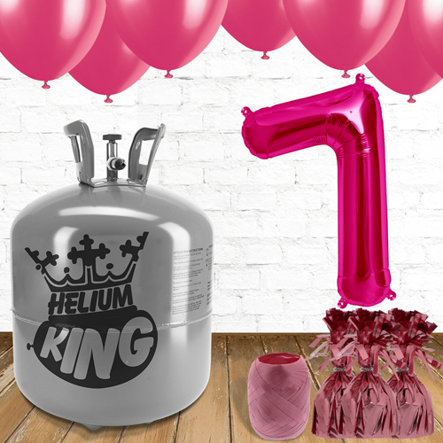 7mo Cumpleaños Globos de Rosa y el Paquete de Gas Helio