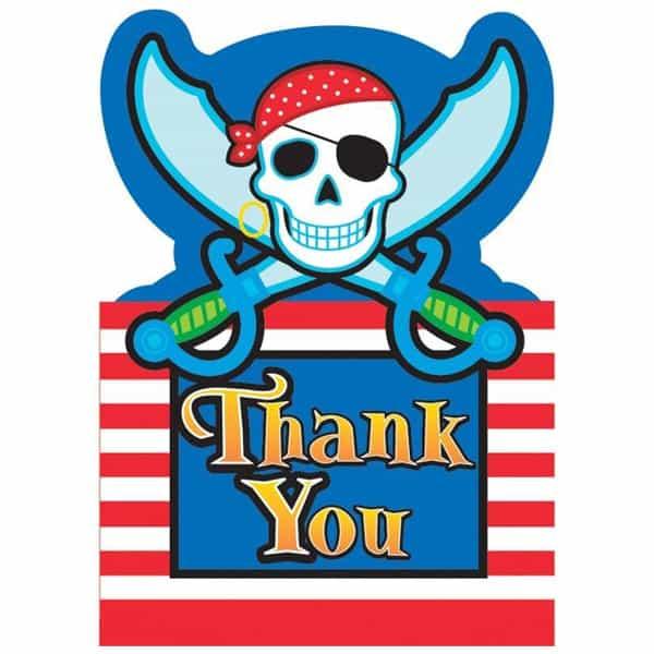 8 Tarjetas de Agradecimiento con Sobres de Piratas