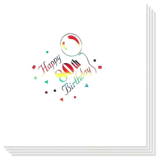 80 Cumpleaños Multicolores Impresión de la Foil Servilletas 33cm 3capas - Paquete de 15