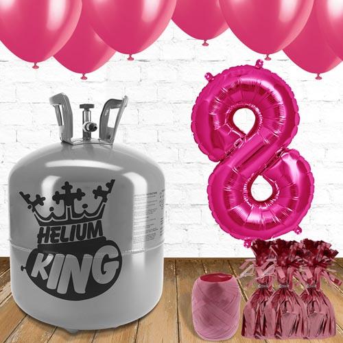 8vo Cumpleaños Globos Rosa y el Paquete de Gas Helio