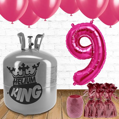 9no Cumpleaños Globos de Rosa y el Paquete de Gas Helio