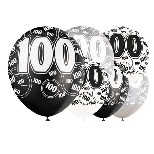 Globos De Látex Biodegradables 100 Años Cumpleaños Negro Glitz - 12 Pulgadas / 30 Cm - Paquete De 6 - Colores Surtidos