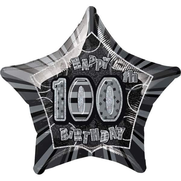 Edad 100 Negro Glitz Feliz Cumpleaños 51cm Globo Foil Prismática