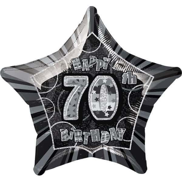 Negro Glitz Edad 70 Feliz Cumpleaños 51 cm Foil del globo Prismático