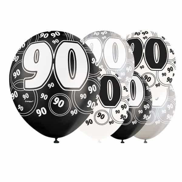 Globos De Látex Biodegradables 90 Cumpleaños De Glitz Negro - 12 Pulgadas / 30 Cm - Paquete De 6 - Colores Surtidos