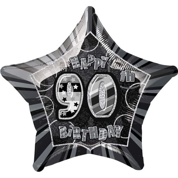 Negro Glitz Edad 90 Feliz Cumpleaños 51cm Globo Foil Prismática