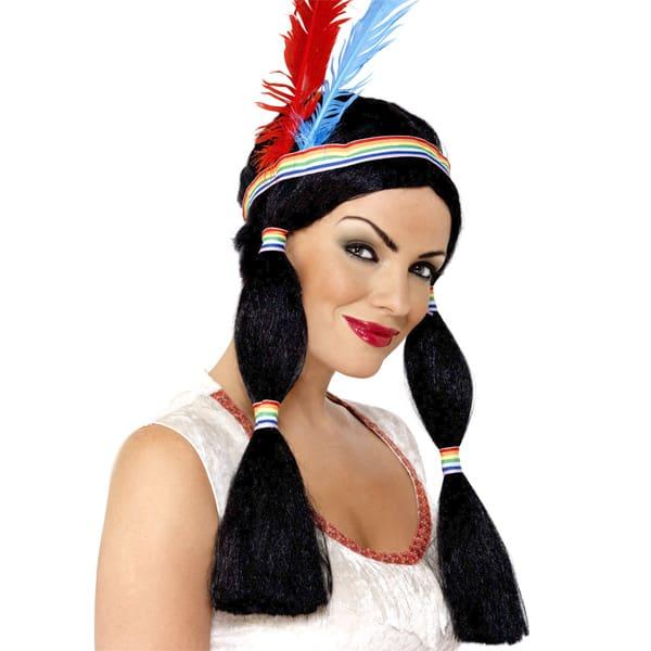 Peluca Negra Indigena Piel Roja