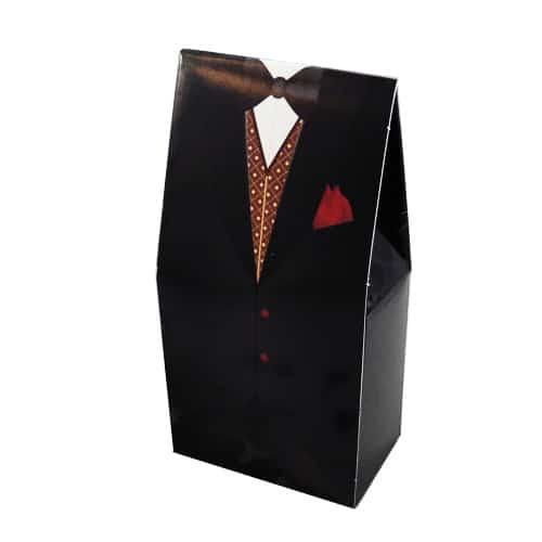 Caja De Esmoquin Negro Con Pañuelo Rojo