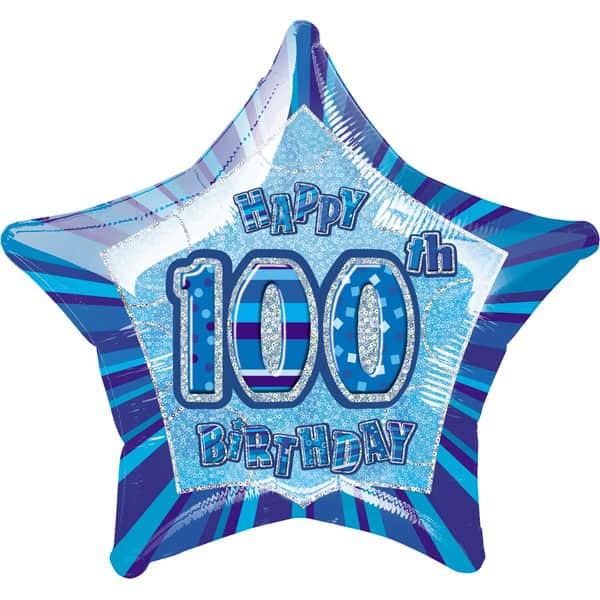 Azul Glitz Edad 100 Feliz Cumpleaños 51 cm Globo de Foil Prismática