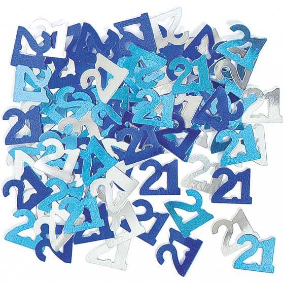 Azul Glitz Edad 21 Feliz Cumpleaños Confeti de Mesa 14 Gramos