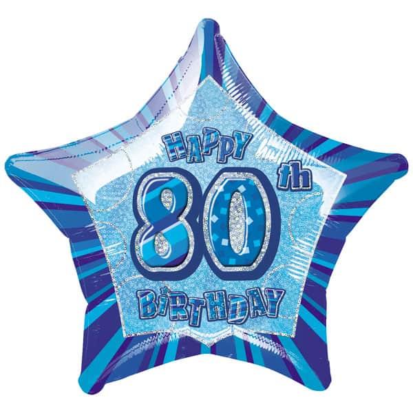 Azul Glitz Edad 80 Feliz Cumpleaños 51 cm Globo de Foil Prismática