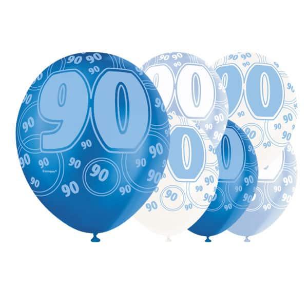 Globos De Látex Biodegradables 90 Cumpleaños De Glitz Azul - 12 Pulgadas / 30 Cm - Paquete De 6 - Colores Surtidos