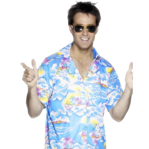 Camisa Hawaiana Azul Sólo - Hombres Tamaño Mediano