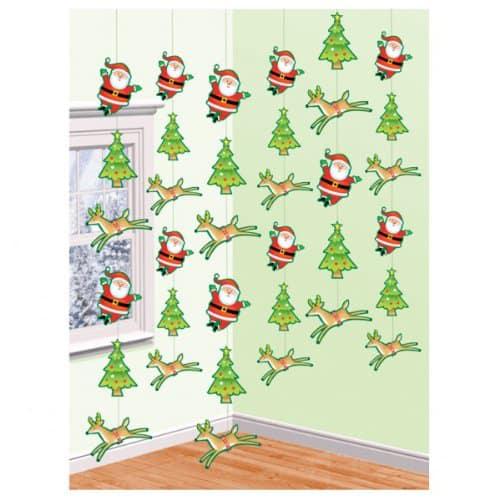Navidad y Papá Decoración de Cadena 213cm - Pack de 6