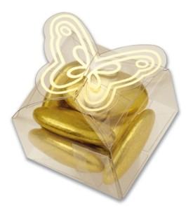 Caja Cúbica Transparente De Mariposa Con Bordes Dorados