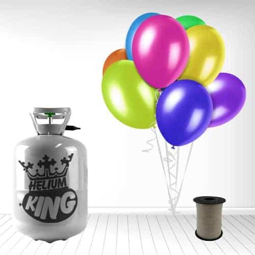 Cilindro desechable de gas helio con 30 globos y cintas espiraladas incluidas